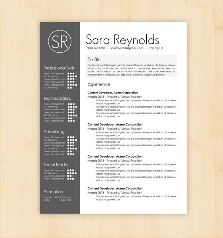 Professional Resume Template And Cover Letter Template For: 1000+ Ideas About Professional Resume Template On