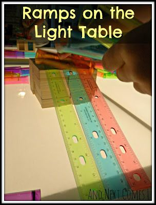 Ramps on the light table: simple science for toddlers and preschoolers from And Next Comes L