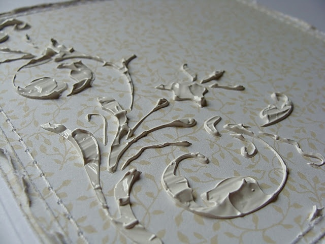Cool Gesso Stenciling Technique ~ adds some great vintage texture!