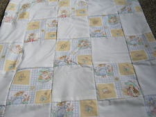 HOMEMADE SMALL COT QUILT.WHITE . BEATRIX POTTER. PETER RABBIT.