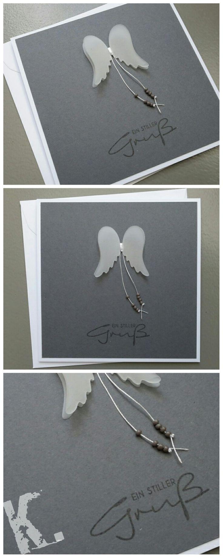 Trauerkarte Papier Stampin'Up! Flügel A.Renke Stempel inkystamp