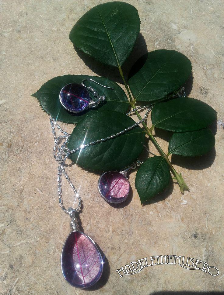 Plante naturale, rasina, sticla, argint