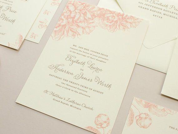 Pink Peonies Wedding Invitation, Vintage Flowers Illustration, Peony Invitations,  Pink Weddings, Romantic Wedding Invite SAMPLE | Swoon