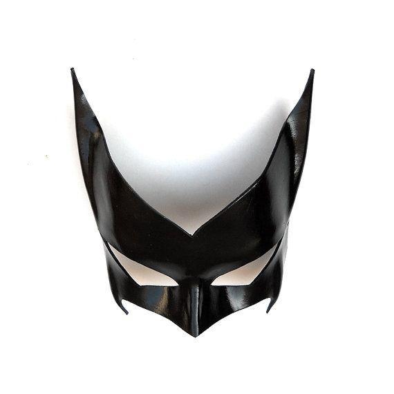 Batwoman Leather Mask Black Super Hero Kate Kane by LMEmasks