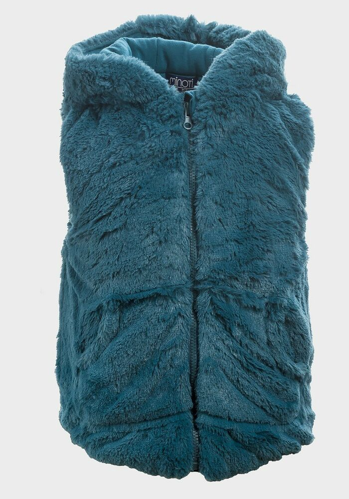 eff7475cb Details about Minoti Girls Hooded Petrol Blue Fur Gilet Age 12-18 ...