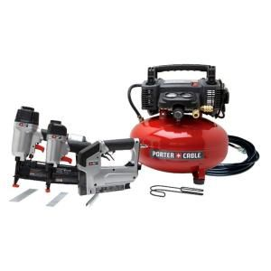PORTER-CABLE CFFN250T 16 Gauge Finish Nailer 18 Gauge Brad Nailer 18 Gauge Narrow Crown Stapler Compressor Combo Kit