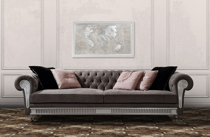 Chester Sofa in Capitonné Nabuk Leather in gray color for both classic and contemporary living room. #vismaradesign #sofa #livingroom #luxury
