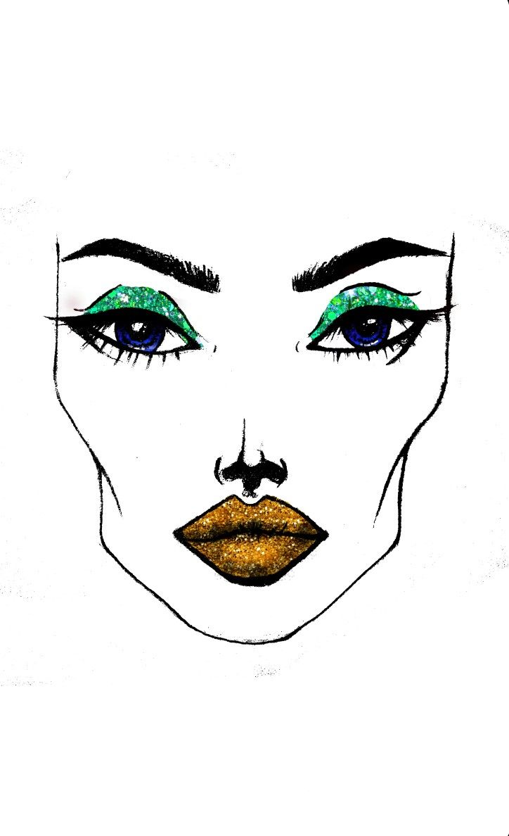 #green #gold #glitter #makeup #sketches