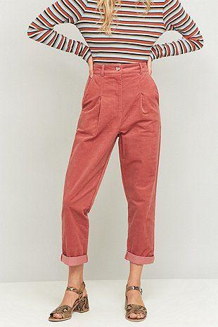 Urban Renewal Vintage Remnants - Pantalon en velours côtelé rose - Urban Outfitters