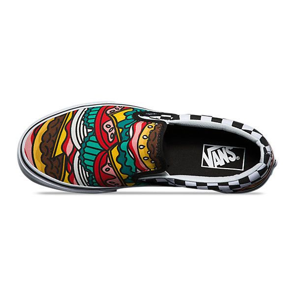 vans classic burger checkerboard mens slip on shoes