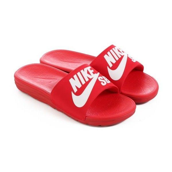 Nike SB Benassi Solarsoft SB Slide Sandals ($35) ❤ liked on Polyvore featuring shoes, sandals, nike, slide sandals, nike footwear, red shoes and red sandals