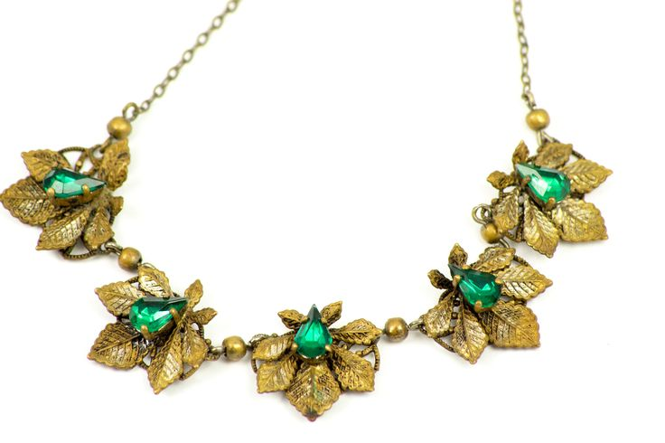 1920s ,Antique  Gold Tone leaves  , Emerald paste, Necklace by MariniJewellery on Etsy