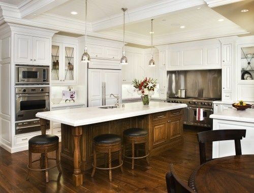 white, wood island, pendants, huge range, beams - my dream kitchen!