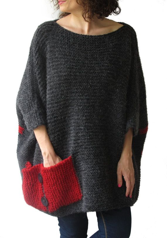 Plus Size - Over Size Sweater Dark Gray - Red Hand Knitted Sweater with Pocket…