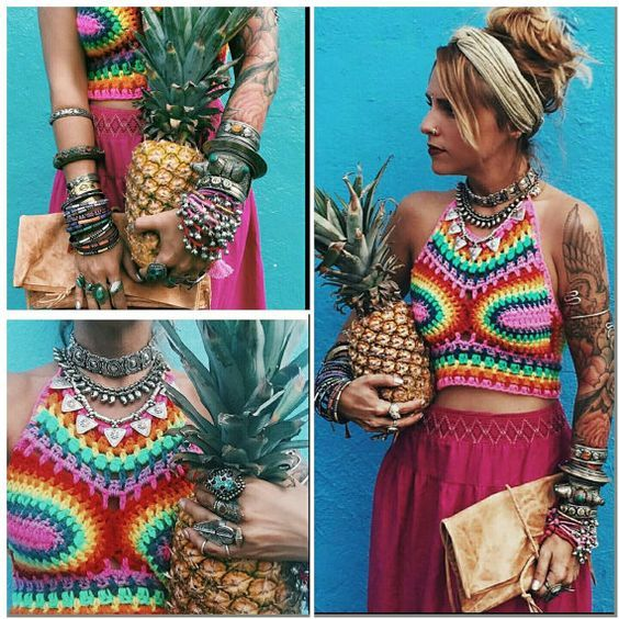 Rainbow High Neck Crop Top perfect for by Acreativewonderland