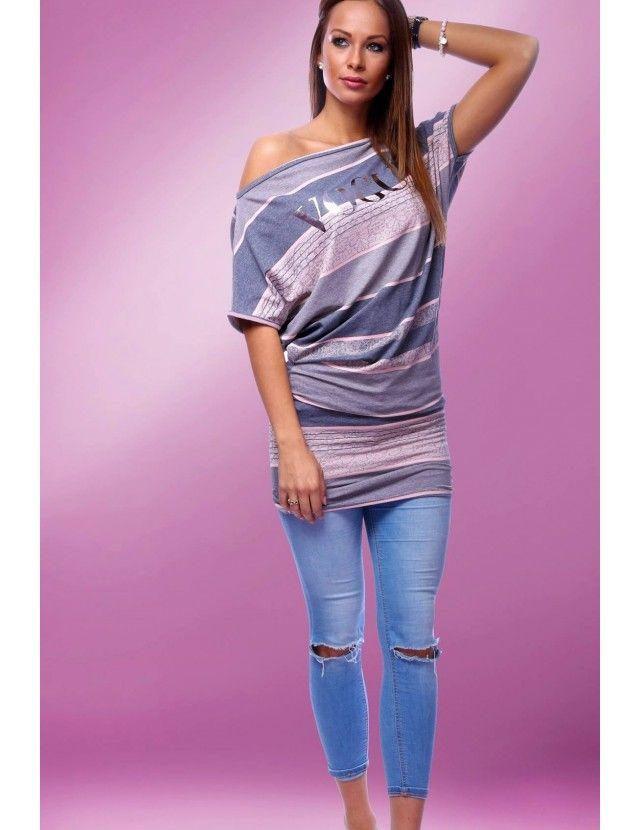 Ejtett vállú ruha, Tunika ruha, nyári ruha rózsaszín szürke - Ruházat összes - Női Ruha Webáruház - Alkalmi ruhák, tunikák, Felsők
