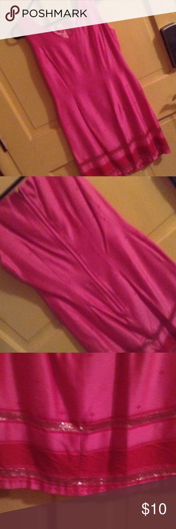 Ladies dress. Be Smart brand Mini dress pink with gold braid and red lace on hem. Zip back, v neck Dresses Mini