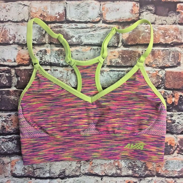 Avia Womens Sz S Sports Bra Multicolor Athletic pink noise neon green piping   | eBay