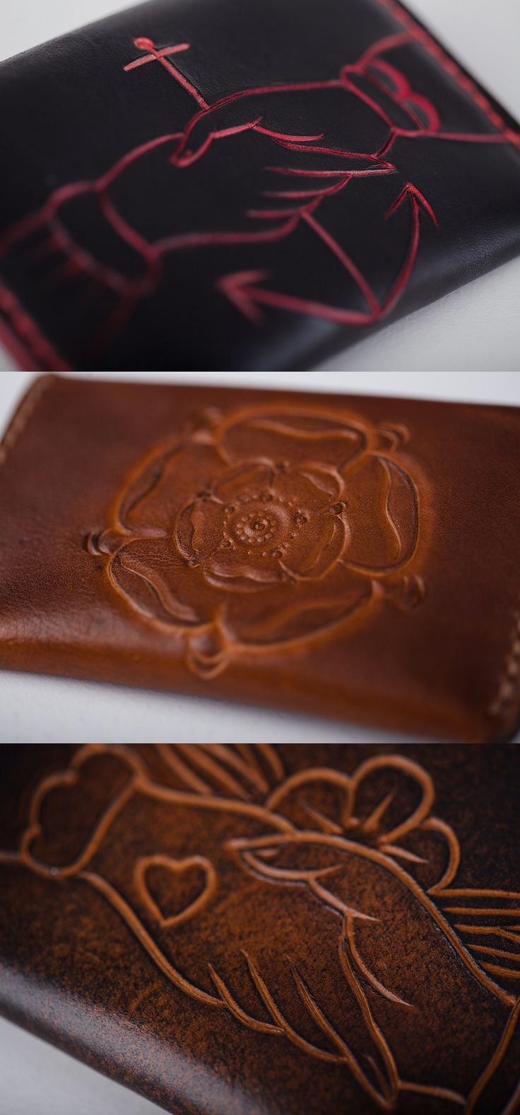Hand Tooled Custom Leather Snap Wallets by Stronger Than All Leather #everydaycarry #EDC