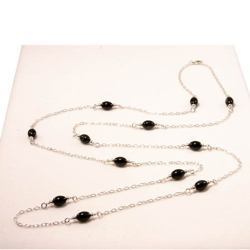 Elas Jewellery Box - CS206 -Sterling silver and black onyx 40 inch long necklace.