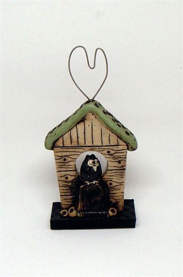 Keramikhus med ugle og hjerte af Tina Ferch