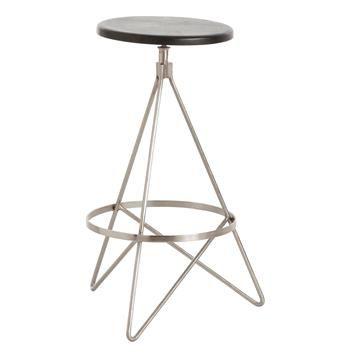wyndham black wood polished nickel swivel modern counter stool - Modern Counter Stools