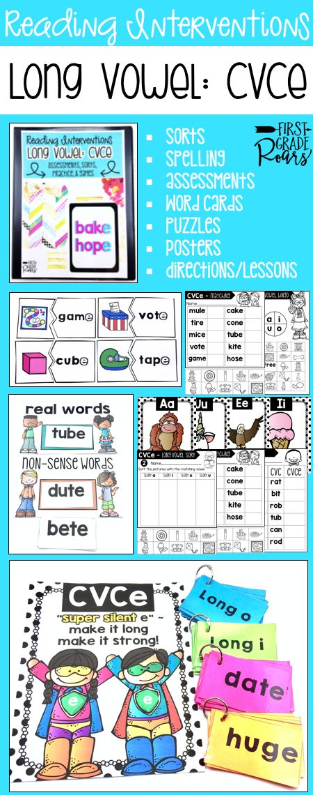 This binder is full of ideas for reading interventions, small group teaching or to use with your entire classroom of kindergarteners, first graders, or struggling second graders. It focuses on CVCe super silent e words. There are word sorts, writing, chants, word cards, games, pre & post assessments, directions and written ideas for lesson or interventions. Use some of these ideas in centers as well. Students will work hard to master cvce words. Everything is easily stored in a 1/2 inch…