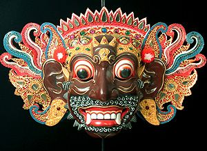Wayang Wong dance drama, Bali, Indonesia - 18 in. wide, wood, gilded leather, mirrors, jewelry, puff balls, by Ida Made Muji