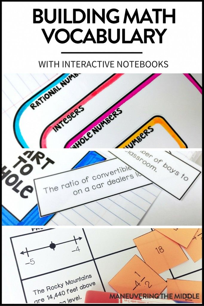 Math interactive notebooks are a great hands-on tool to engage students in the content and process. Three ways to incorporate vocabulary into your INBs. | maneuveringthemiddle.com