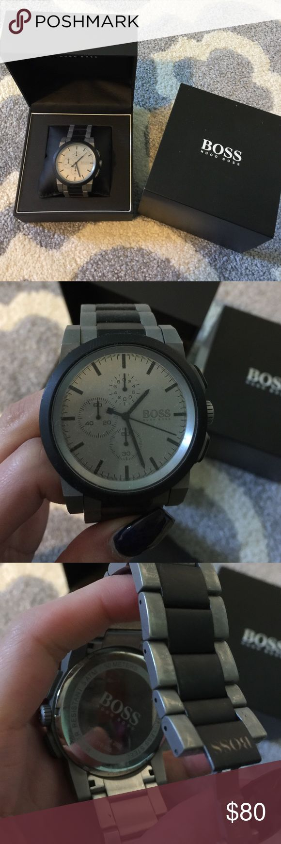 Hugo boss watch Gently used. Comes w box. Battery still working. Does not come with extra links. Taken 2 links out of original. Accessories Watches