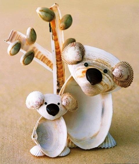 Nature Crafts for Kids Seashell Koalas