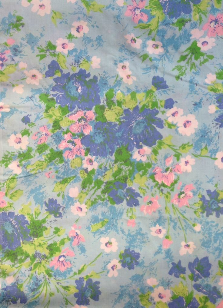 Vintage Twin/ Single Flat Sheet - Turquoise Pink White Blue Floral by Fieldcrest - Mid-Century Girl's Bedroom Decor Fabric - 1960s 1970s by ShipyardMillies on Etsy