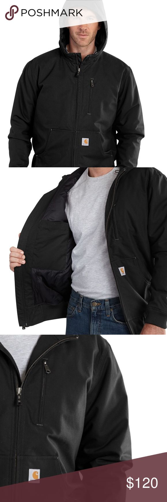 ⭐️HP!!!! NWT Mens carhartt jacket New with tags Men's, Water Repellent, 3M™ Thinsulate™ Insulated Jacket by carhart in black with embroidery on chest (can easily be taken off)   8.5-ounce, 60% cotton/40% polyester canvas 30% lighter and ounce-for-ounce as durable as sandstone Nylon lining quilted to 80-gram 3M™ Thinsulate™  Insulation in body and sleeves  Attached quilt-lined hood with draw-cord closure  Two inside pockets  Triple-stitched main seams  Size large   Bought for $140 - price…