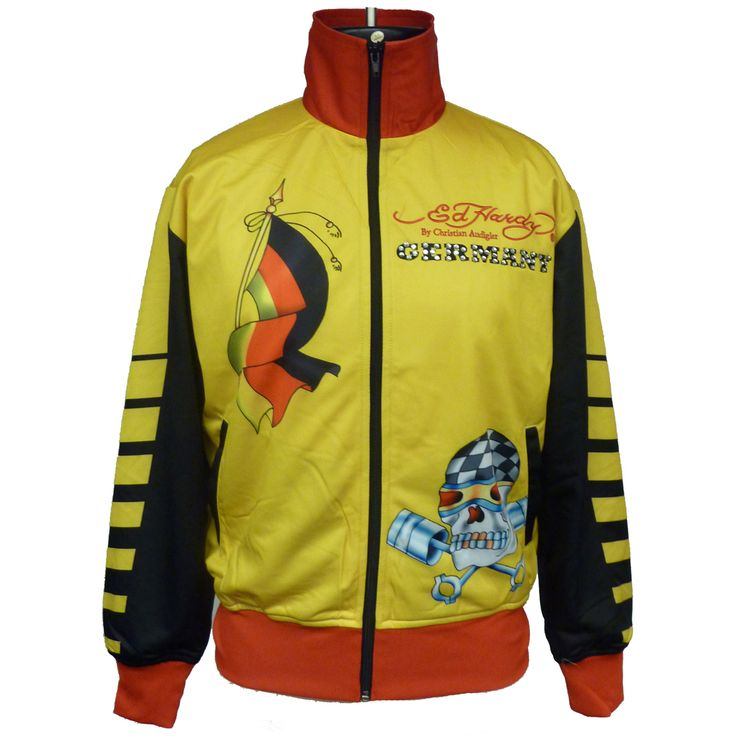 Ed Hardy Mens Country Track Jacket with Stones – Black