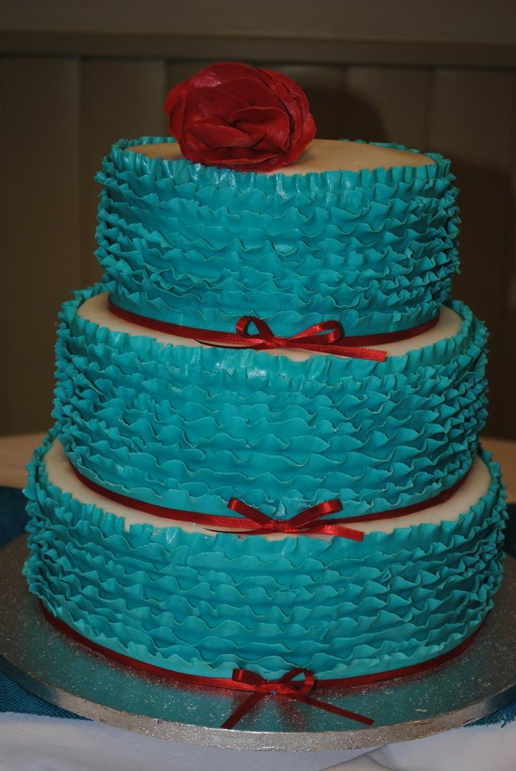 Turquoise And Red Ribbon Wedding Cake Cakes Pinterest