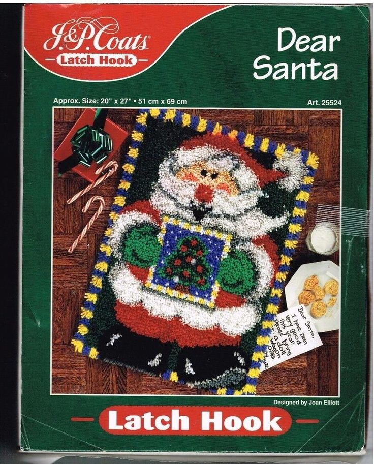 "Latch Hook RUG Kit Dear Santa J P Coats 20 x 27"" Joan Elliott Design Unopened 