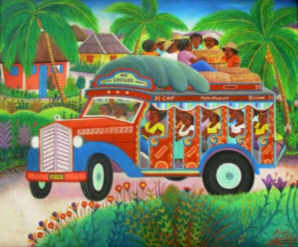 HAITIAN ART that is a tap tap which is how they travel