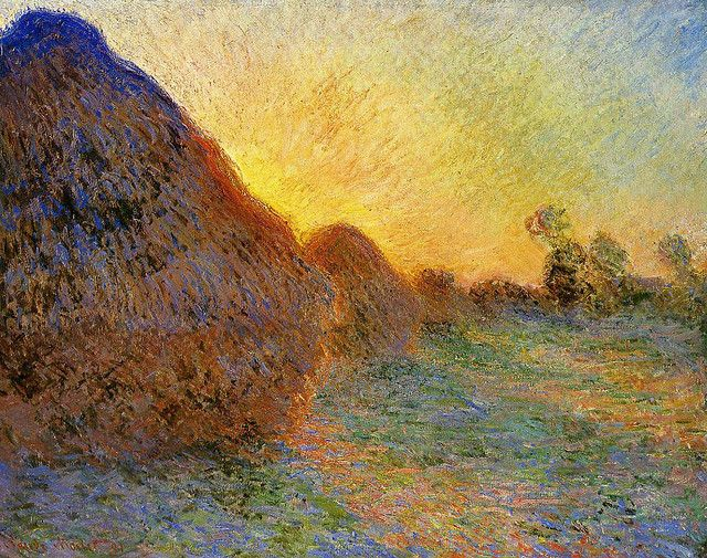 Grainstacks - by Claude Monet, 1890 Harvest sunset marking the onset of Autumn, not quite yet, but maybe soon?