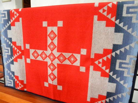 Wool blanket, Pendleton Native American, reversable grey/red/blue by UrbanCamp on Etsy