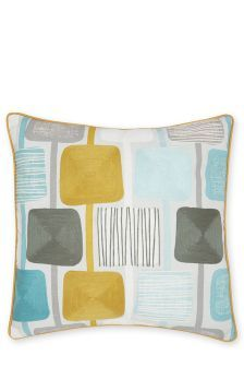 Embroidered Square Geometric Cushion
