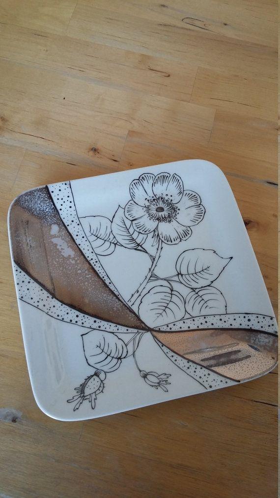 Plaque de céramique de fleurs et dargent peints à la main