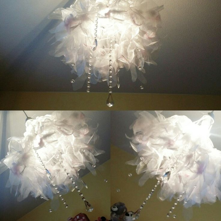 Diy chandelier for kids room. Made from recycled materials only