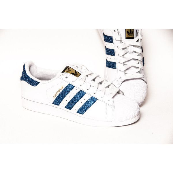 Glitter Limited Edition Starlight Blue Adidas Superstars Ii Fashion... ($200) ❤ liked on Polyvore featuring shoes, sneakers, light blue, sneakers & athletic shoes, tie sneakers, women's shoes, silver shoes, blue sneakers, blue trainers and sparkle sneakers