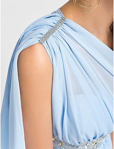 abiti da damigella breve mini chiffon / ritorno a casa - cielo blu taglie a-line / principessa una spalla – EUR € 86.35