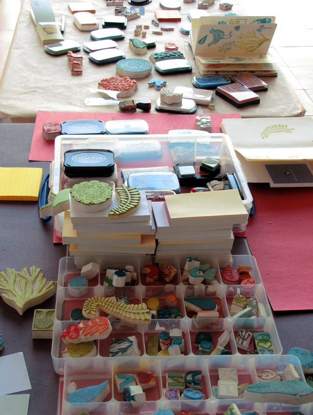 Handmade rubber stamp - tutorial as well in the right