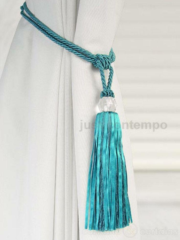 Crystal Beaded Teal Blue Tassel Curtain Tie Back Made Of