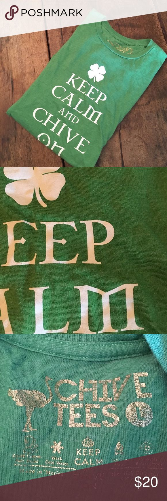 KCCO (Keep Calm and Chive On) shamrock shirt (L)! Hard to get KCCO (Keep Calm and Chive On) shamrock shirt for St. Patrick's Day!! Authentic Chive shirt from thechivery.com! Soft and thin fabric - perfect for a St. Pattys celebration!! Worn so there is slight pilling (see pic) but lots of life left!! Women's shirt also available! Bundle for a discount!! Chive Shirts Tees - Short Sleeve