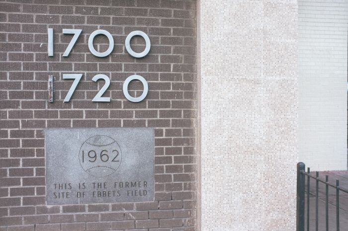 Ebbets Field memorial plaque on building that stands on its former site