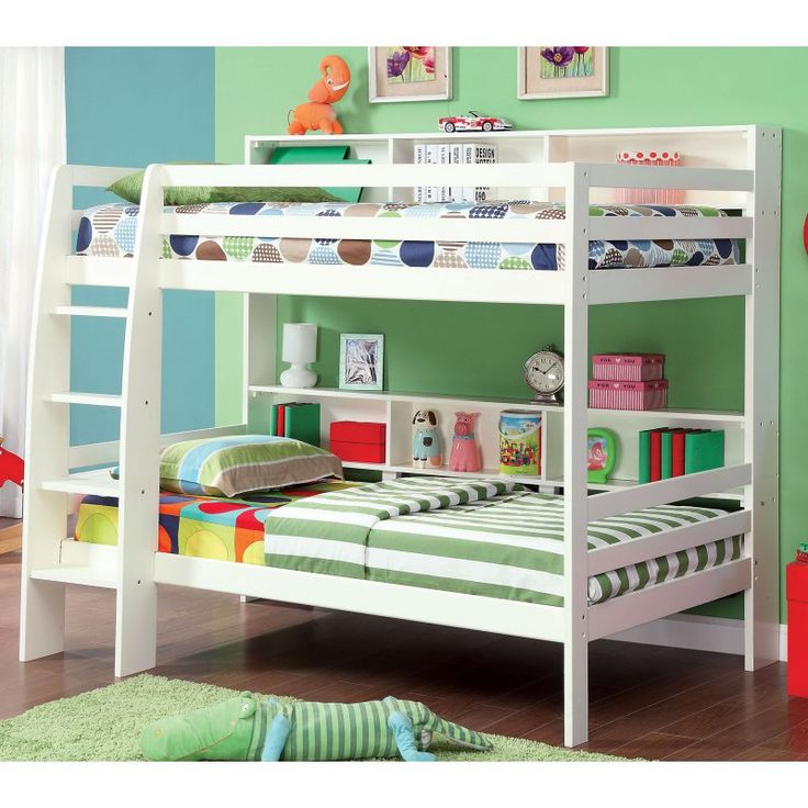 Contemporary Carla Twin over Twin Bunk Bed with Storage - IDF-BK613WH