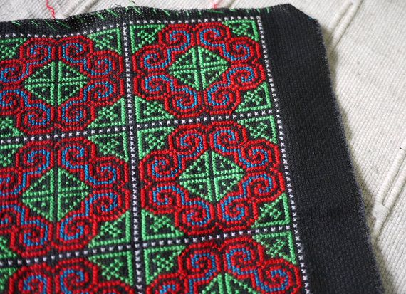 Thai Hmong Handmade Patch Cross Stitch By Thaitextileshop